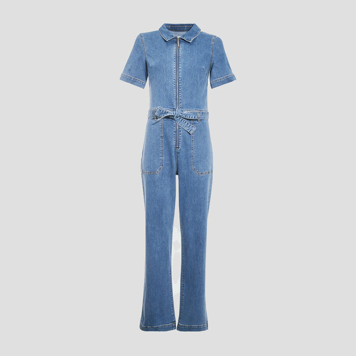Combinaison zippée en jean denim brut femme
