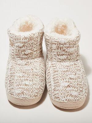 Chaussons bottines tricotes ecru femme