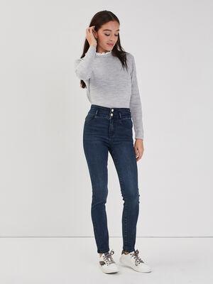 Jeans slim taille haute denim blue black femme