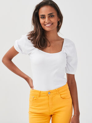 T shirt manches courtes cotele blanc femme