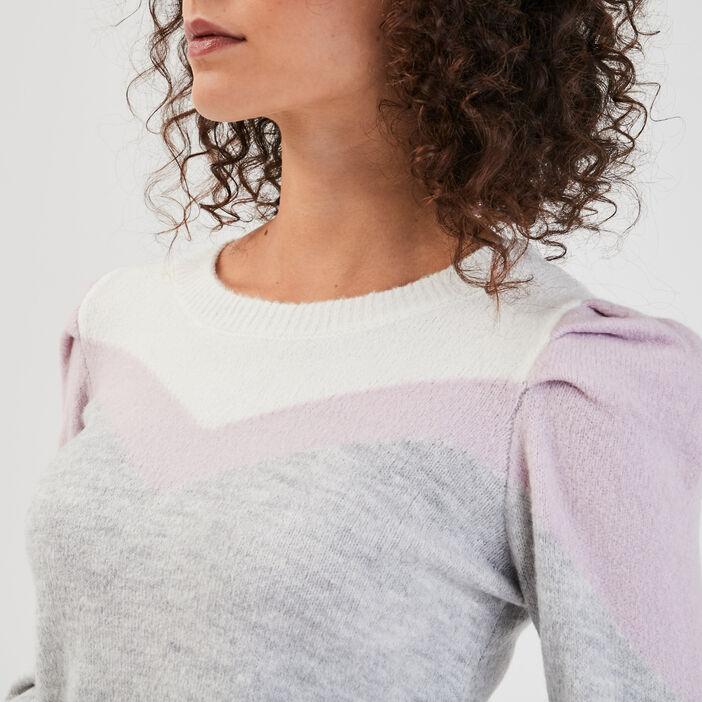 Pull épaules froncées gris clair femme