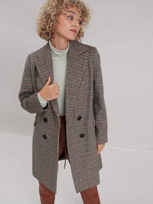 Manteau droit boutonne beige femme