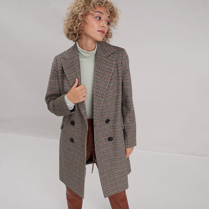 Manteau droit boutonné beige femme