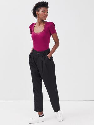 Pantalon slouchy taille haute noir femme