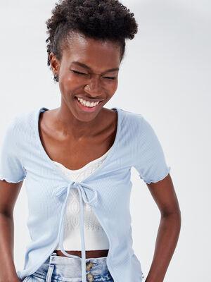 Gilet manches courtes cotele bleu pastel femme