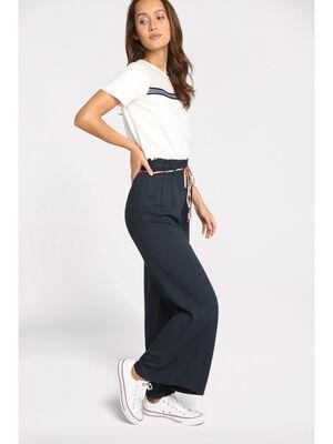 Pantalon fluide elastique bleu marine femme