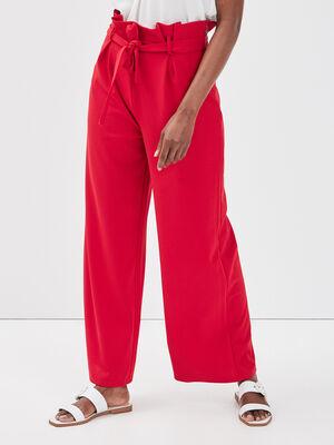 Pantalon large a ceinture rouge corail femme
