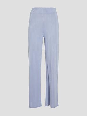 Pantalon large effet cotele bleu pastel femme