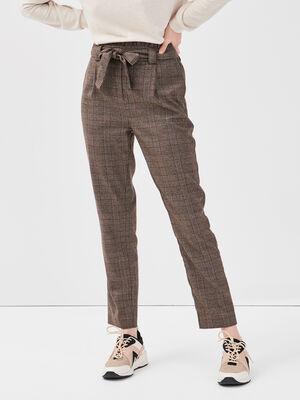 Pantalon paperbag marron fonce femme