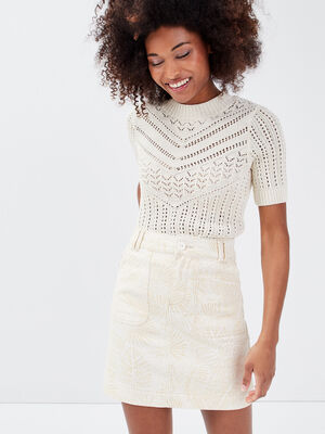 Jupe evasee taille haute creme femme