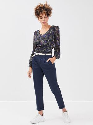 Pantalon chino ceinture bleu marine femme