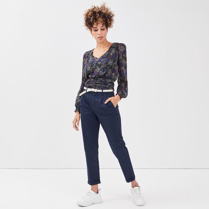 Pantalon chino ceinturé bleu marine femme