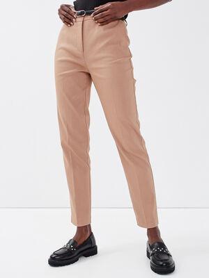 Pantalon cigarette ceinture sable femme