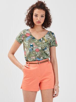 Short droit ceinture orange corail femme