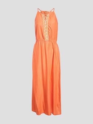 Robe longue evasee bretelles orange corail femme
