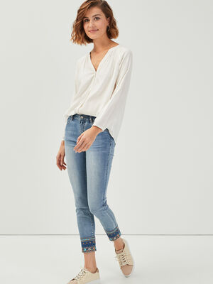 Jeans skinny denim double stone femme