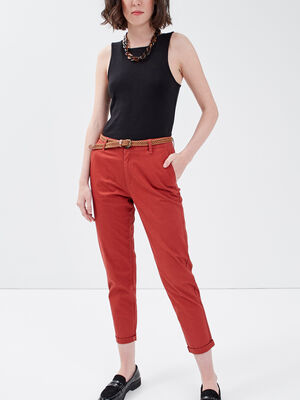 Pantalon chino 78eme orange fonce femme