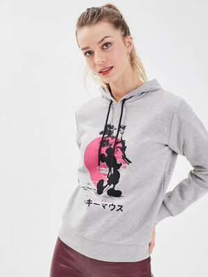 Sweat a capuche Mickey gris clair femme