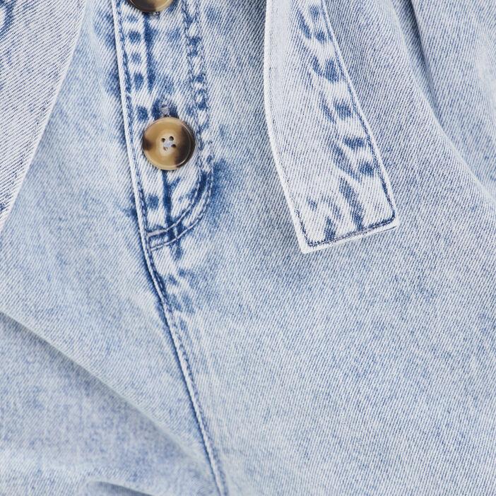 Combinaison pantalon en jean denim bleach femme