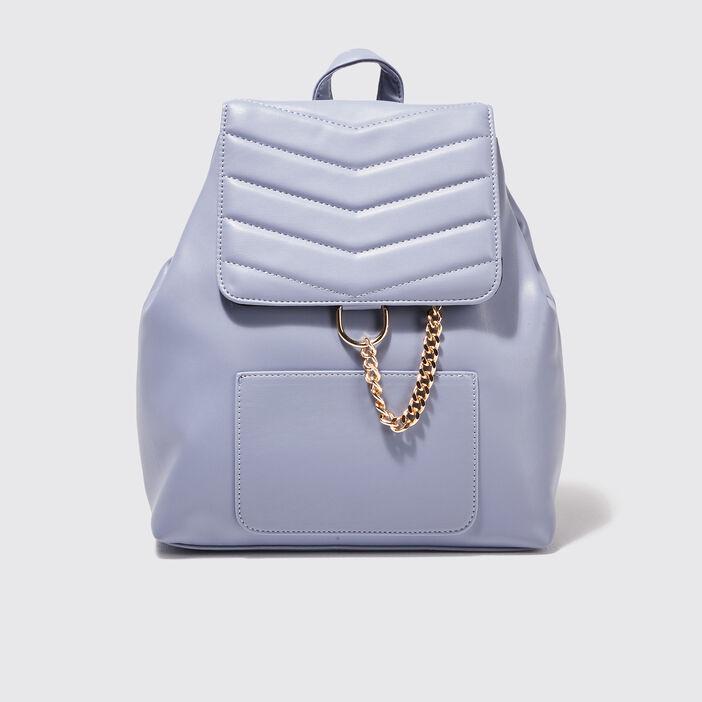 Sac à dos avec détail chaîne bleu pastel femme