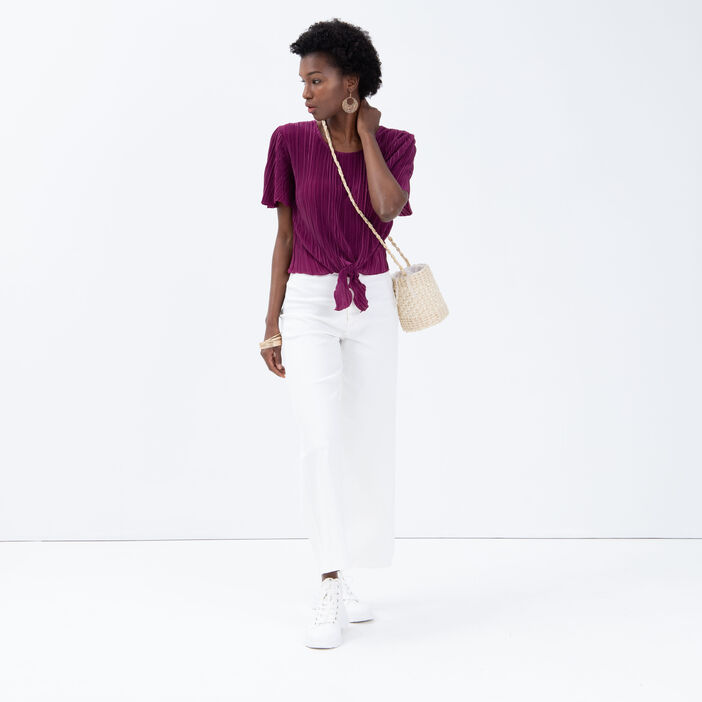 T-shirt manches courtes plissé violet foncé femme