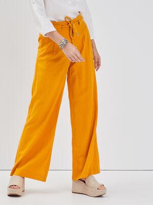 Pantalon fluide lin jaune or femme