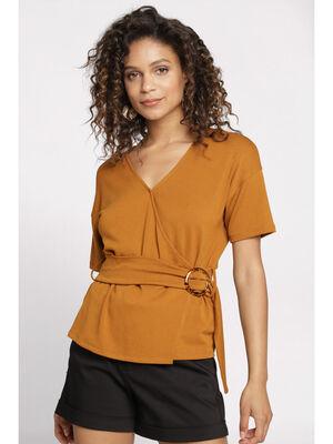 T shirt manches courtes boucle camel femme