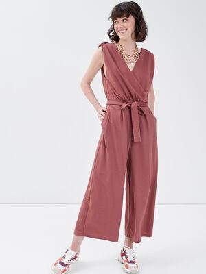 Combinaison pantalon ceinturee vieux rose femme