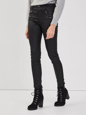 Pantalon skinny details zippes denim noir enduit femme