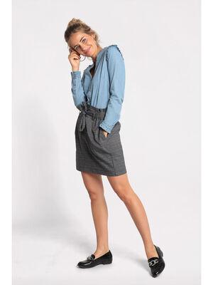 Jupe paperbag taille plissee gris femme