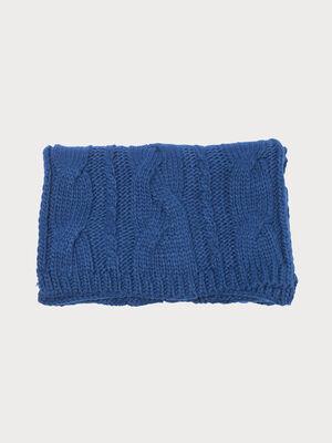 charpe tricotee a torsades bleu violet femme