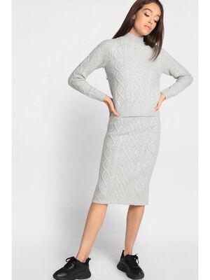 Jupe midi moulante tricotee gris clair femme