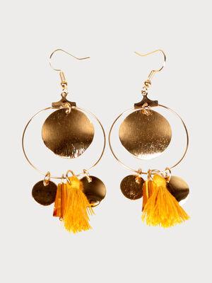 Boucles doreilles en metal avec pompon couleur or femme