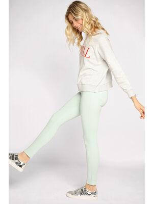 Pantalon skinny taille haute vert clair femme