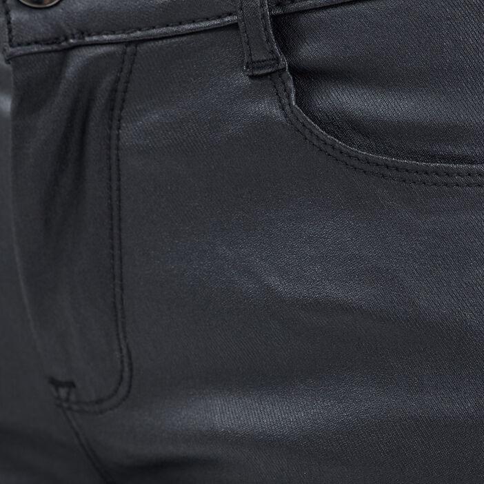 Pantalon slim taille haute denim noir enduit femme