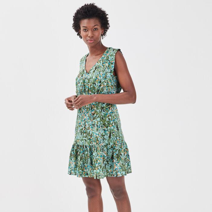 Robe évasée bretelles larges vert kaki femme