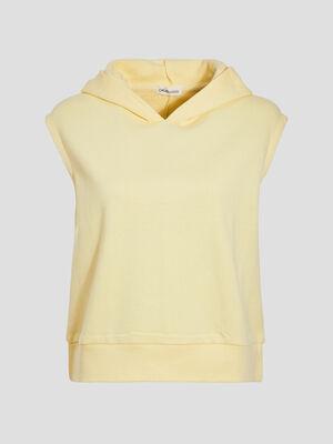 Sweat sans manches a capuche jaune pastel femme