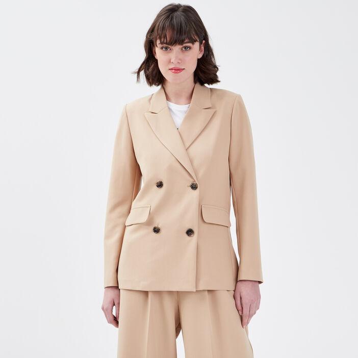 Veste droite double boutonnage beige femme