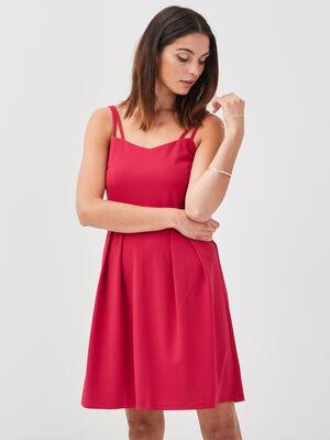 Robe evasee bretelles fines rose cerise femme