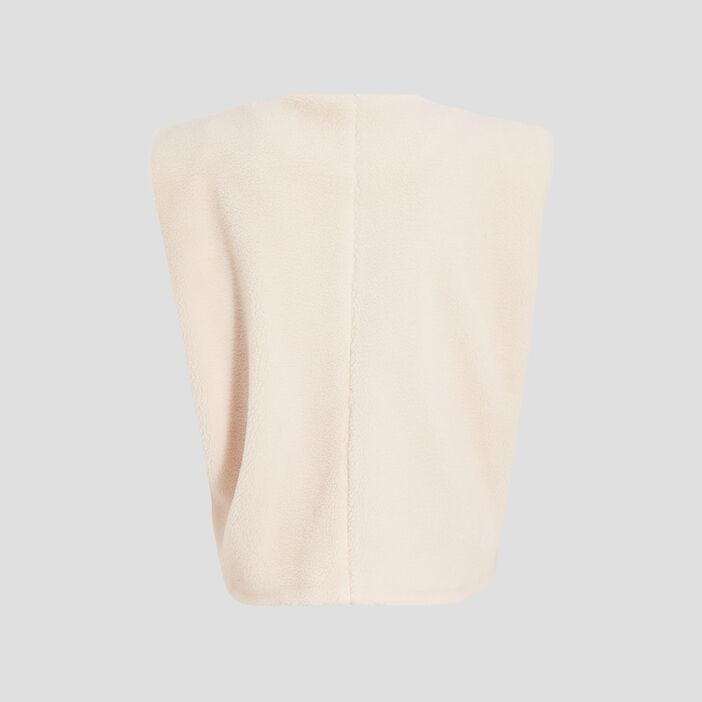 Veste droite sans manches ecru femme