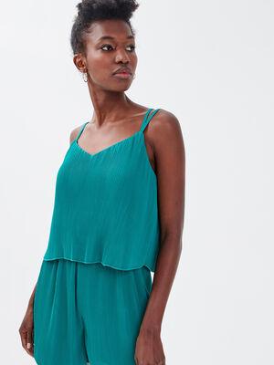 Combishort droite plissee vert emeraude femme