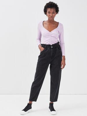 Jeans slouchy elastique denim noir femme