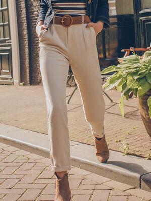 Pantalon chino 78eme velours ecru femme