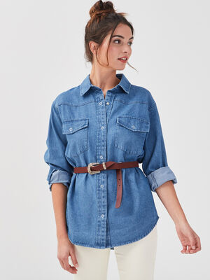 Surchemise en jean denim stone femme