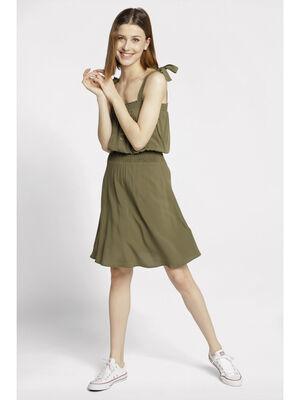 Robe boutonnee bretelles nouees vert femme