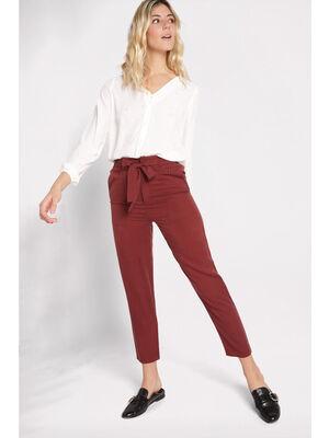 Pantalon fluide taille haute rouge fonce femme