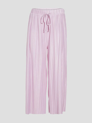 Pantalon ample fluide plisse mauve femme