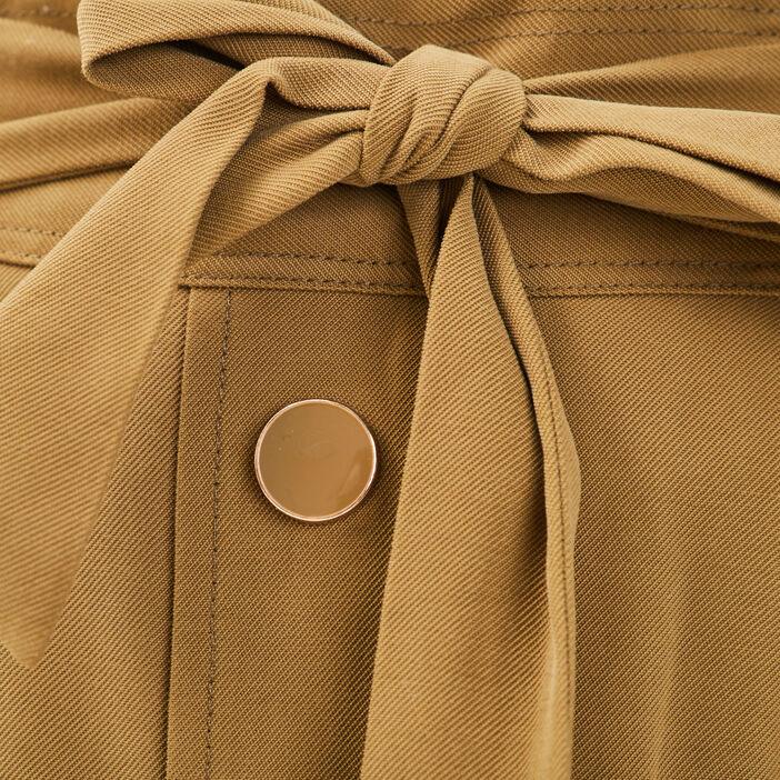 Jupe évasée noeud taille vert olive femme