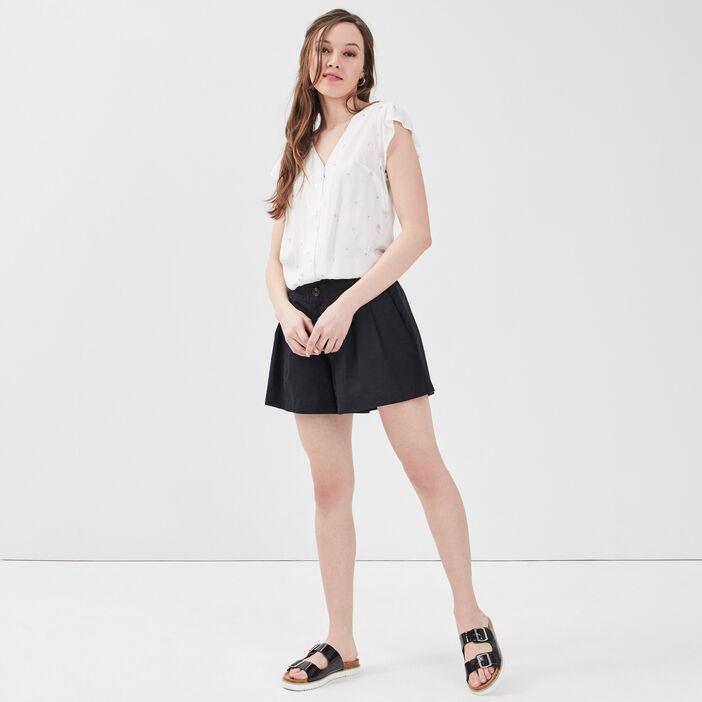 Blouse manches courtes blanc femme
