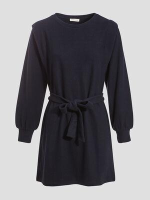 Robe pull evasee ceinturee bleu marine femme
